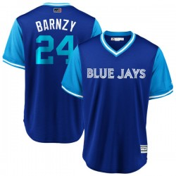 "Danny Barnes Men's Toronto Blue Jays Light Blue Replica ""BARNZY"" Royal/ 2018 Players' Weekend Cool Base Jersey - Majestic"
