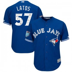 Mat Latos Youth Toronto Blue Jays Royal Authentic Cool Base 2018 Spring Training Jersey - Majestic